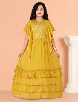 Yellow georgette gown for wedding days