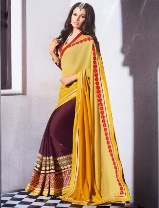 Yellow georgette half and half festive wear saree