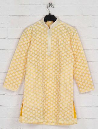 Yellow georgette kurta suit with churidar