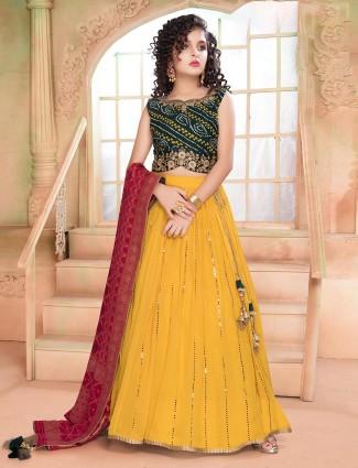 Yellow georgette lehenga choli for wedding wear