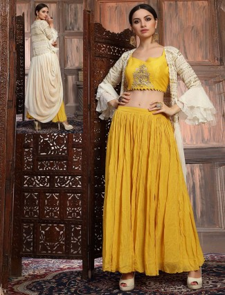 Yellow georgette lehenga suit in wedding
