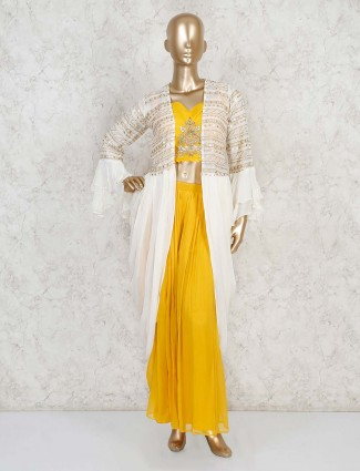 Yellow georgette party indo western palazzo suit