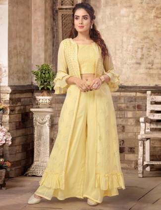 Yellow georgette party wear jacket style sharara suit
