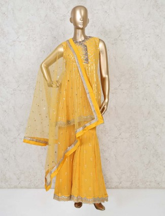 Yellow georgette punjabi sharara suit party wear