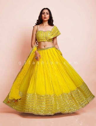 Yellow georgette wedding days lehenga choli