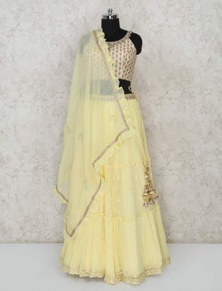 Yellow georgette wedding function lehenga choli