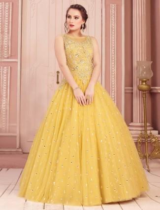 Yellow gown for haldi ceremony
