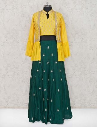 Yellow green cotton silk jacket style lehenga choli