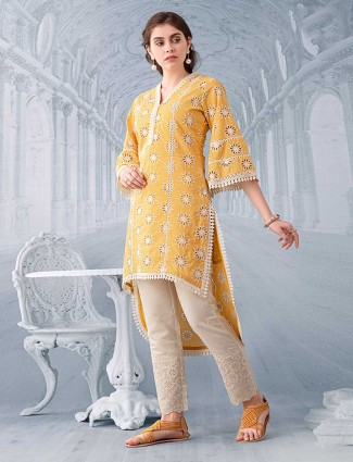 Yellow hakoba kurti for festive wear