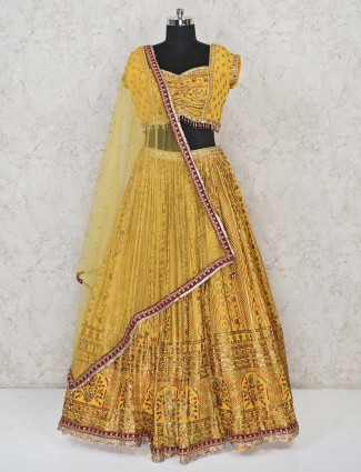 Yellow haldi function lehenga choli in georgette