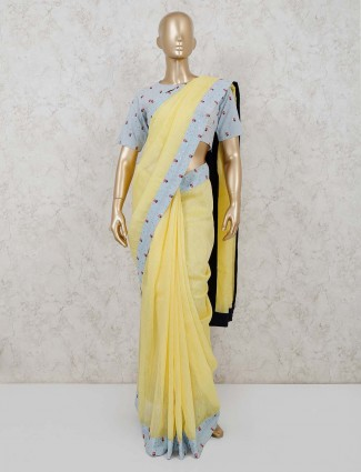 Yellow handloom cotton saree with readymade blouse