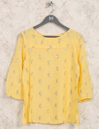 Yellow hue cotton casual round neck top