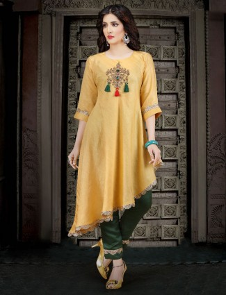 Yellow hue cotton festive kurti