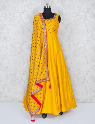 Yellow hue cotton silk anarkali salwar suit