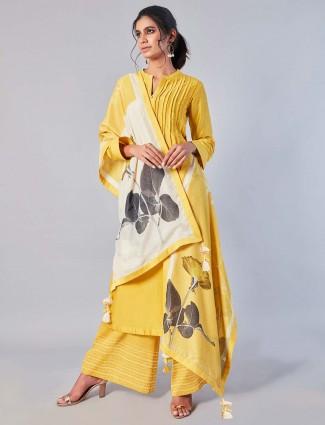 Yellow hue cotton silk pretty palazzo suit