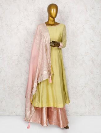 Yellow hue cotton silk punjabi palazzo suit