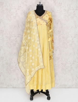 Yellow hue cotton silk punjabi salwar suit