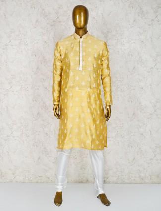 Yellow hue designer cotton silk kurta suit