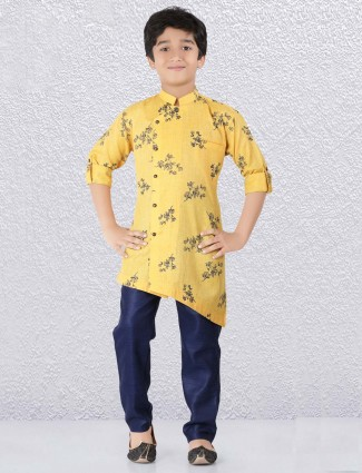 Yellow hue designer flower printed kurta suit