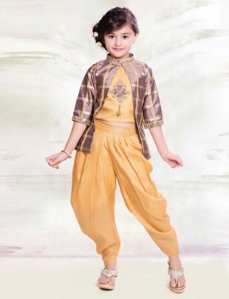 Yellow hue designer jecket style punjabi dhoti suit