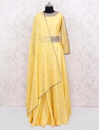 Yellow hue floor length designer anarkali suit