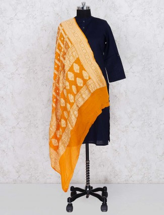 Yellow hue gajji silk woven work dupatta