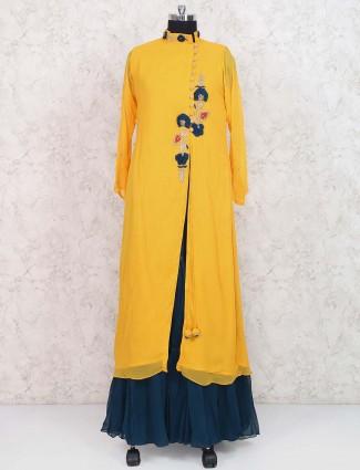 Yellow hue georgette lehenga cum salwar suit