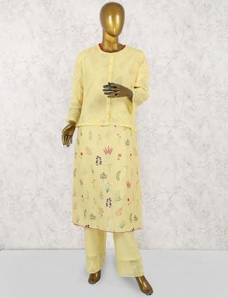 Yellow hue jacket style salwar suit incotton