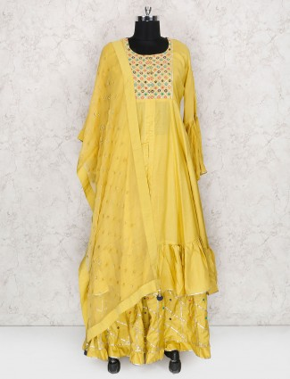 Yellow hue lehenga cum salwar suit in cotton fabric