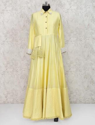 Yellow hue lovely anarkali salwar suit in cotton silk