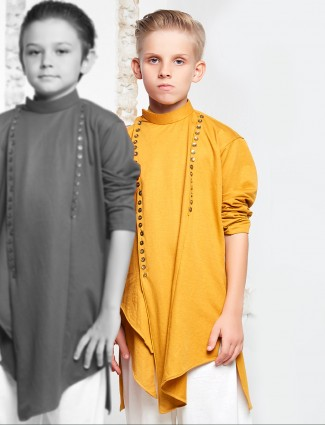 Yellow hue pathani suit for festive