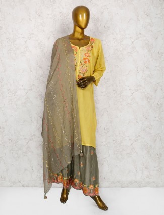Yellow hue punjabi sharara suit in cotton