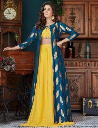 Yellow hue raw silk festive jacket style lehenga choli