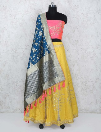 Yellow hue raw silk semi stitched lehenga choli