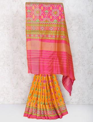 Yellow hue saree in cotton silk