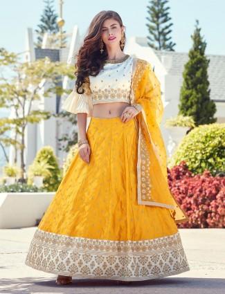 Yellow hue silk wedding lehenga choli
