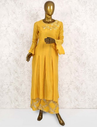 Yellow hued cotton silk punjabi salwar suit