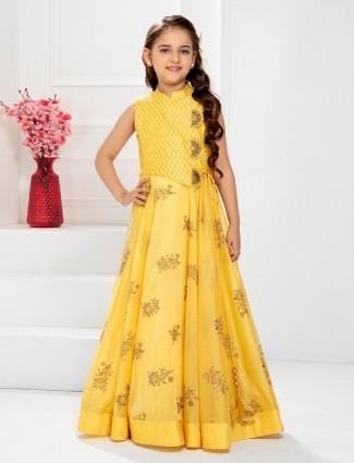 Yellow hued designer cotton silk gown