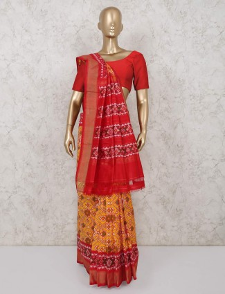 Yellow hydrabadi patola silk saree for wedding functions