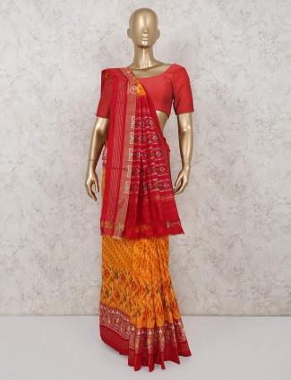Yellow hydrabadi patola silk wedding saree