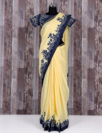 Yellow impressive chiffon party wear saree