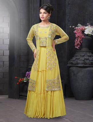 Yellow indo western lehenga suit in georgette fabric