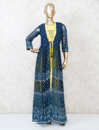 Yellow jecket style georgette palazzo suit