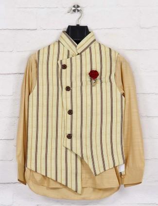 Yellow jute stripe design waistcoat set