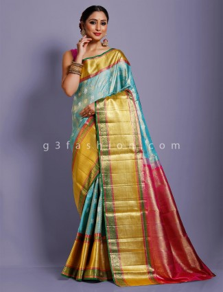 Yellow kanjivaram silk heavy golden zari woven saree