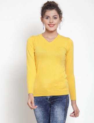Yellow knitted v neck casual top