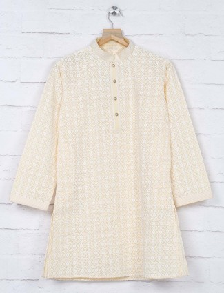 Yellow lakhnavi thread georgette kurta suit