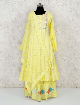 Yellow lehenga salwar suit in cotton silk