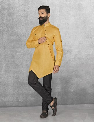 Yellow linen fabric kurta suit