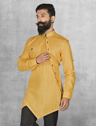 Yellow linen fabric short pathani